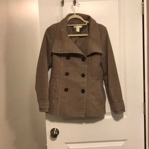 Like-new tan double button peacoat
